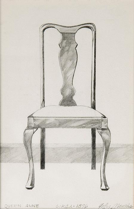 graphite pencil drawing queen anne chair by john morris