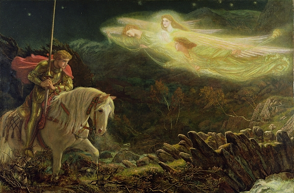 Man Painting - Quest For The Holy Grail by Arthur Hughes