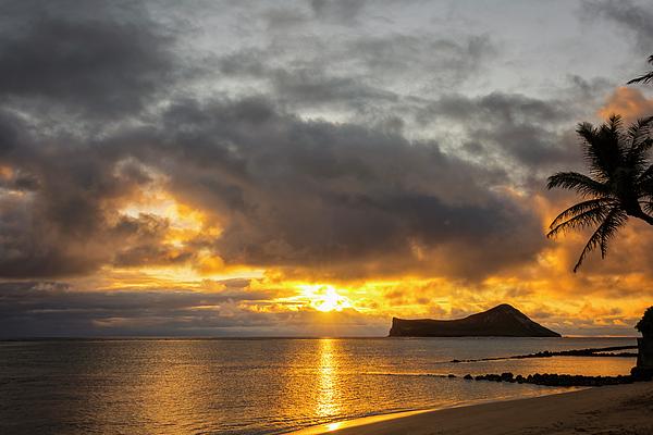 Waves Photograph - Rabbit Island Sunrise - Oahu Hawaii by Brian Harig