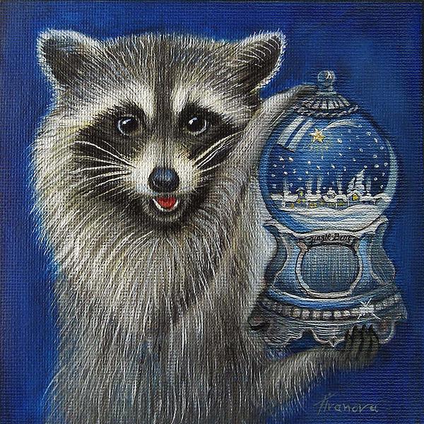 Raccoon Painting - Raccoon - Christmas Star by Temenuga Ivanova