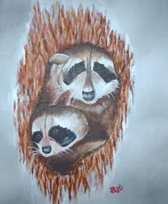 Raccoons Painting by Brenda Coster