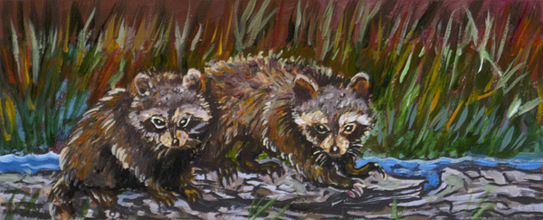 Animal Painting - Raccoons From River Mural by Dawn Senior-Trask