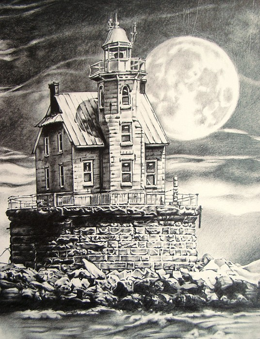 Lighthouse Drawing - Race Rock Light House by Michael Lee Summers