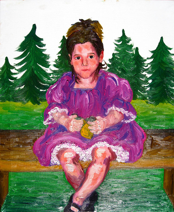 Child Painting - Racheal With Trees by Marianne Devine