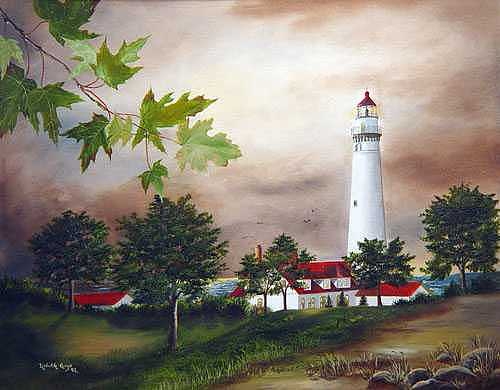 Racine Lighthouse Painting by Lizbeth Gage