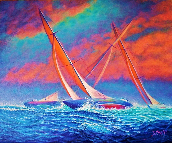 Seascape Painting - Racing Wedge by Joseph   Ruff