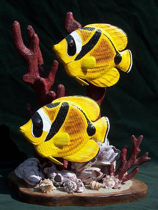 Tropical Fish Sculpture - Racoon Angel Fish by Keith Edmondson