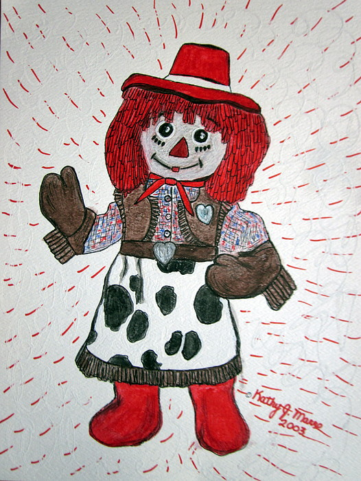 Raggedy Ann Painting - Raggedy Ann Cowgirl by Kathy Marrs Chandler