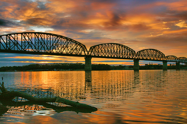 Bridge Photograph - Railroad Bridge At Sunrise by Steven Ainsworth