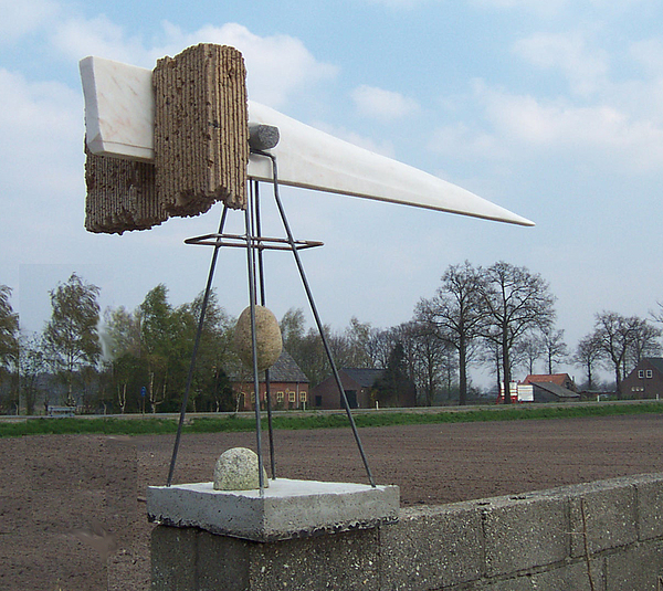 Limestone Sculpture - Rain Balance by Jos Hamann