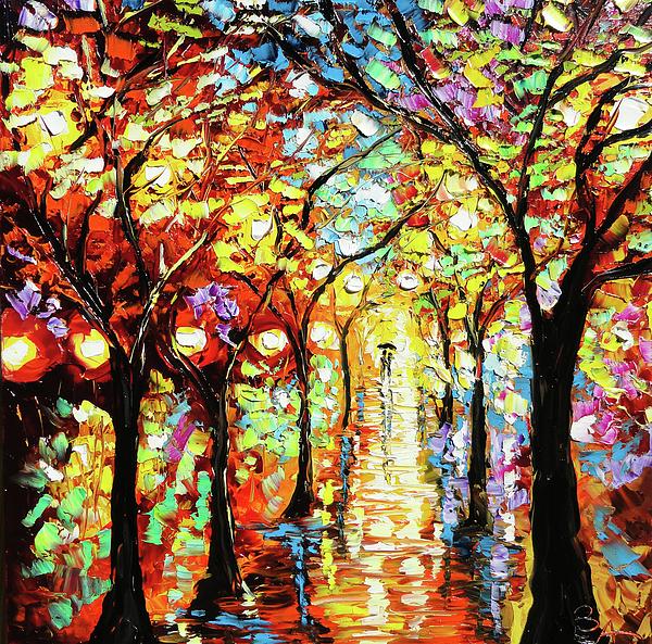 Beata Sasik - Rain Night Oil Painting - Lights in the Rain
