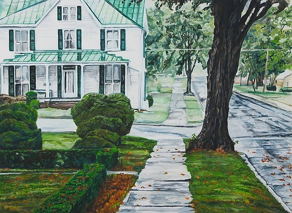Small Town Painting - Rain On Green Roof by Thomas Akers