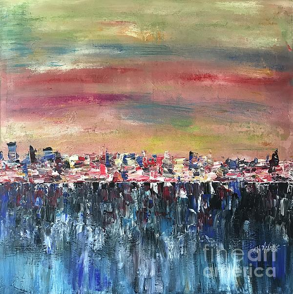 Abstract Painting - Rain Over City by Heather McKenzie