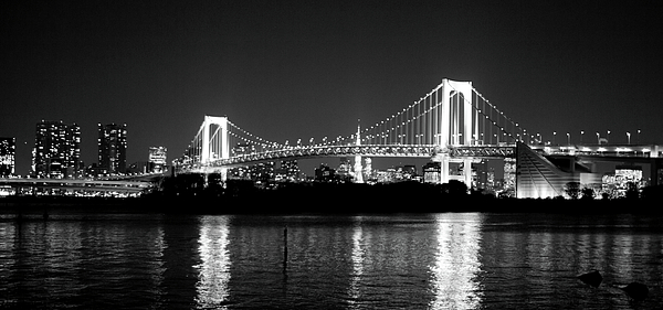 Horizontal Photograph - Rainbow Bridge At Night by Xkhol