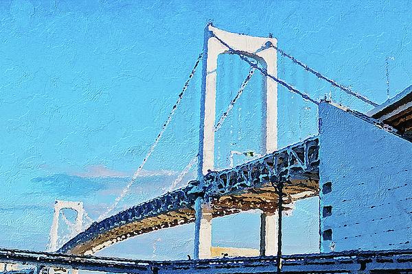 Bridge Painting - Rainbow Bridge In Tokyo by PixBreak Art