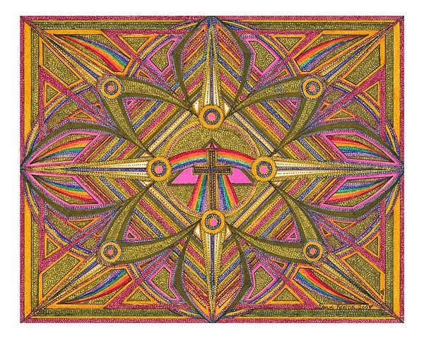Geometric Design Drawing - Rainbow Design With Cross by Amos Beaida