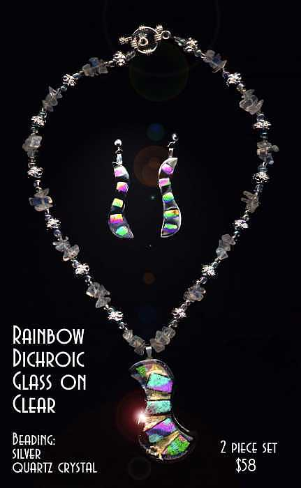 Fused Dichroic Glass With Beading Glass Art - Rainbow Dichroic Glass On Clear Necklace And Earrings Set by Michelle Lake