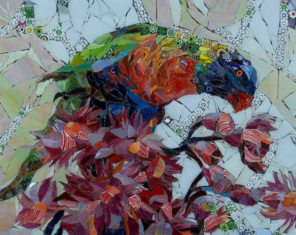 Lorikeet Mixed Media - Rainbow Landing by Carol Shelkin