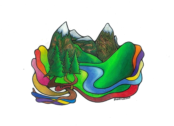 Surreal Drawing - Rainbow River by Steve Weber