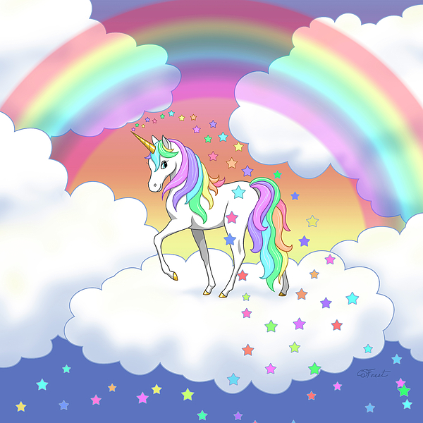 Unicorn Painting - Rainbow Unicorn Clouds And Stars by Crista Forest