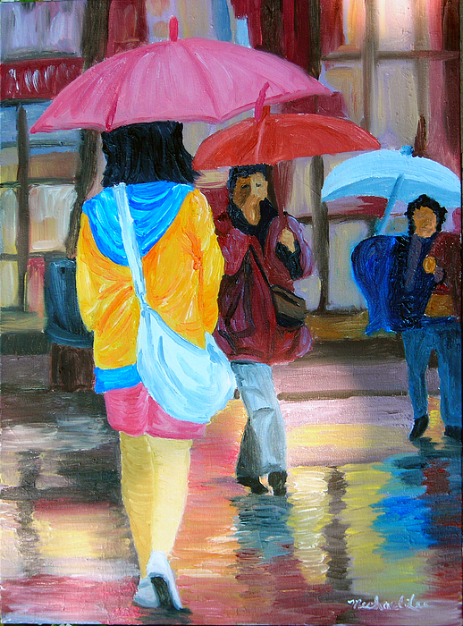 Rainy City Painting - Rainy City by Michael Lee