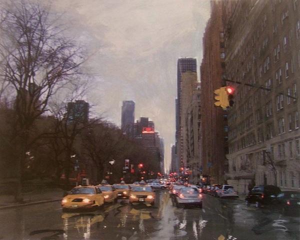 Rain Painting - Rainy City Street by Anita Burgermeister