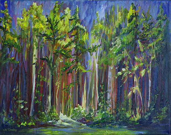 Forest Painting - Rainy Day At Nutimik Lake by Joanne Smoley