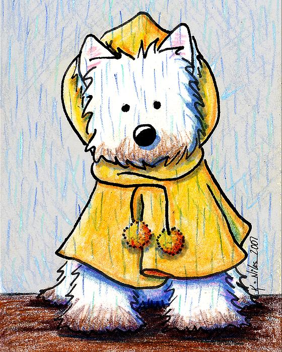 Dog Drawing - Rainy Day Westie by Kim Niles