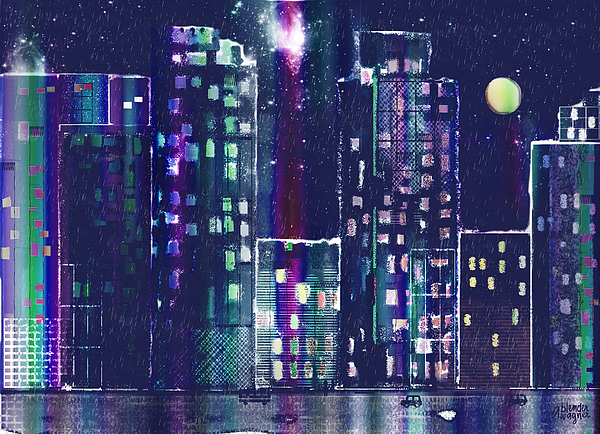 Skyline Digital Art - Rainy Night In The City by Arline Wagner