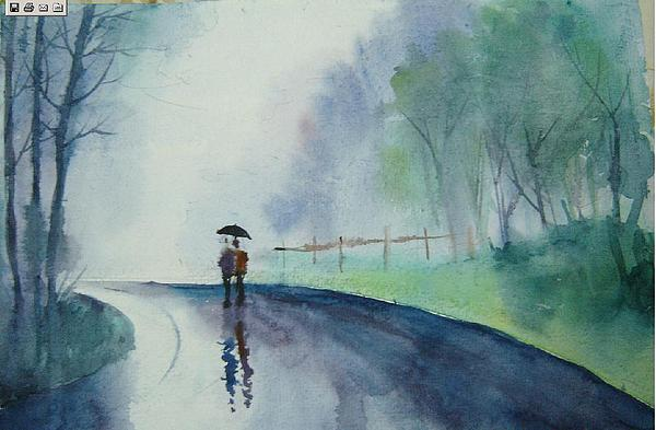 Rainy Walk Painting by Prafulla B Shukla