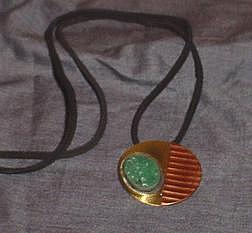 Mixed Media Jewelry - Raku And Metal Pendant by Joe Harvey