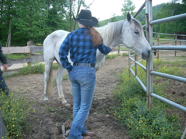 Blue Photograph - Ranchhand With Horsey by Beebe Barksdale-Bruner
