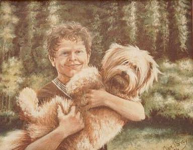 Portrait Painting - Randal And Friend by Clare Harvey