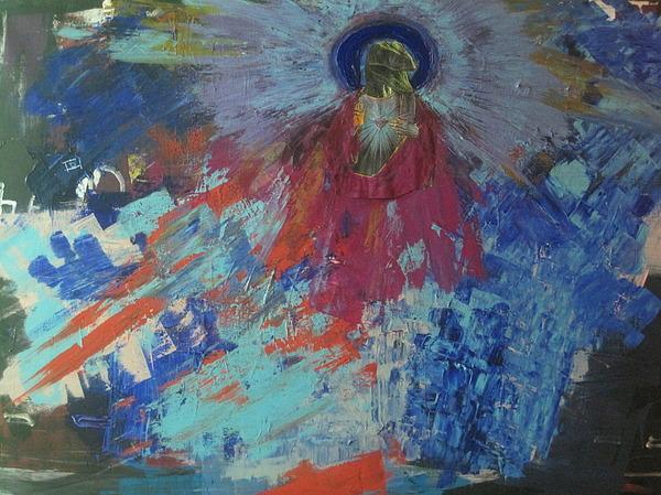 Abstract Painting - Raptor Jesus by David Kristjanson