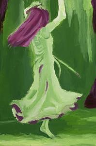 Raspberry And Green Twirl Painting by Sheilah Yearwood
