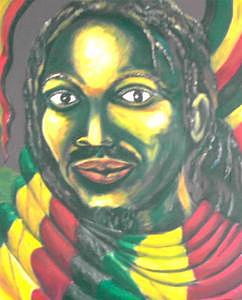 Red Green Gold Painting - Rass Youth by Andrew Johnson