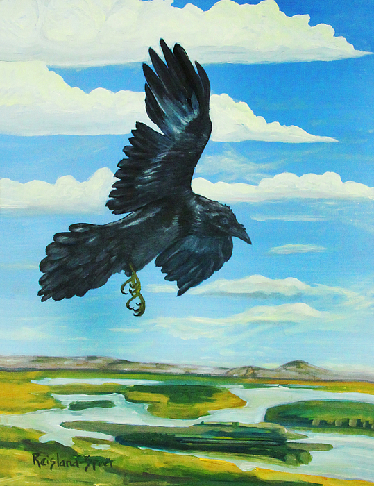 Raven Painting - Raven Landing by Amy Reisland-Speer