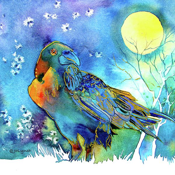Raven Painting - Raven Night Spirit by Jo Lynch