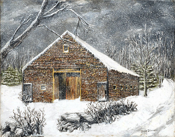 Barns Painting - Ray Emersons Old Barn by Jack Skinner