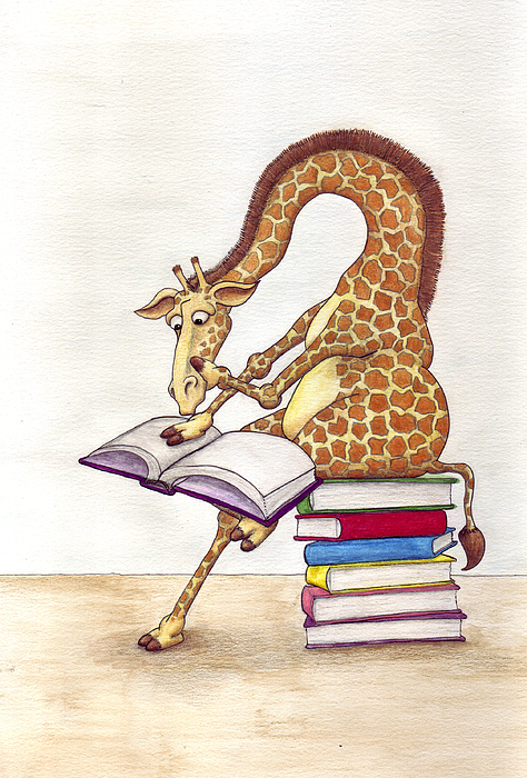 Giraffe Mixed Media - Reading Giraffe by Julia Collard