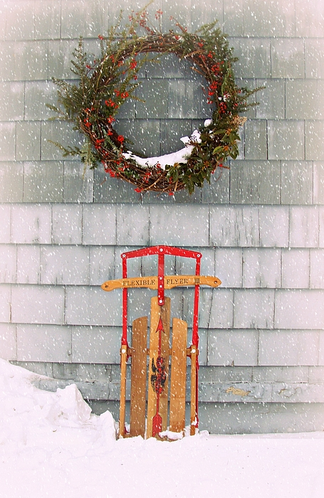 Winter Old Sled Snow Photograph - Ready Set ...go by Kristine Nora