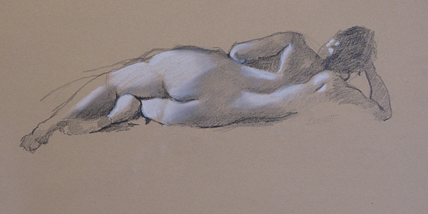 Drawing Drawing - Reclining Nude 1 by Robert Bissett