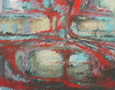 Abstract Painting - Red Abstract by Linda Eades Blackburn