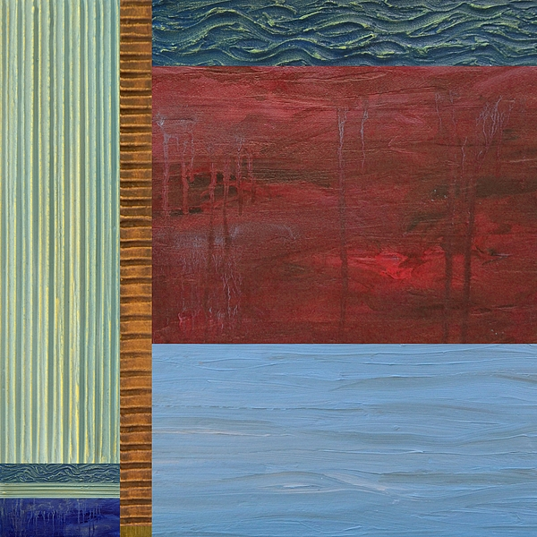 Lake Painting - Red And Blue Study by Michelle Calkins