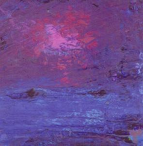 Abstract Landscape Painting - Red And Blue Violet by Billie J  Sullivan