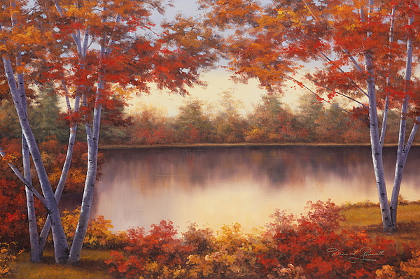 Autumn Scene Painting - Red And Gold by Diane Romanello