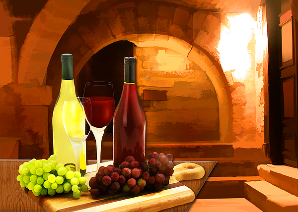 Wine Painting - Red And White In The Cellar by Elaine Plesser