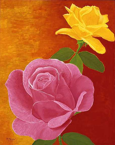 Flowers Painting - Red And Yellow Roses by Thi Nguyen