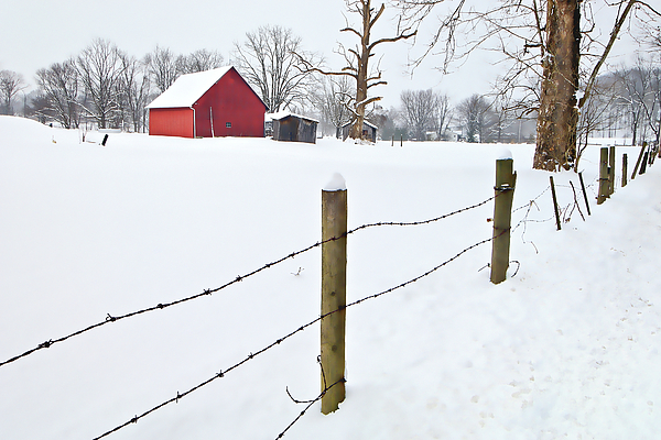 Watercolor Photograph - Red Barn And Fresh Snow - D006392a by Daniel Dempster