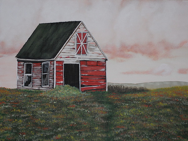 Barn Painting - Red Barn by Candace Shockley